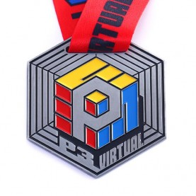 Custom polygon shaped metal soft enamel medal and trophy sports